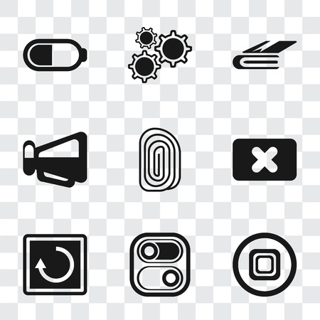 Set Of 9 simple transparency icons such as Stop, Switch, Restart, Close, Fingerprint, Megaphone, Notebook, Settings, Battery, can be used for mobile, pixel perfect vector icon pack on transparent