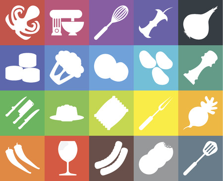 Set Of 20 icons such as Spatula, Cookies, Sausage, Glass, Pepper, Onion, Radish, Chips, Knives, Cauliflower, Potatoes, Octopus, Whisk, web UI editable icon pack, pixel perfect 일러스트
