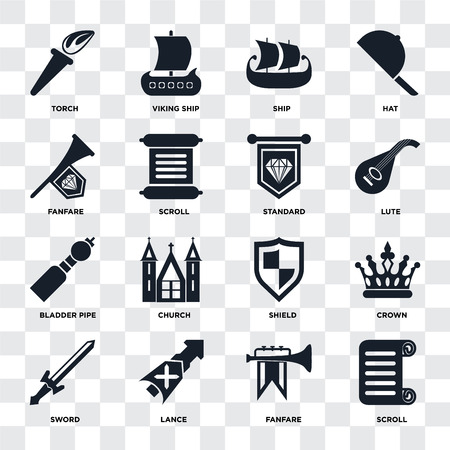 Set Of 16 icons such as Scroll, Fanfare, Lance, Sword, Crown, Torch, Bladder pipe, Standard on transparent background, pixel perfect Illusztráció