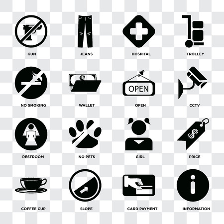 Set Of 16 icons such as Information, Card payment, Slope, Coffee cup, Price, Gun, No smoking, Restroom, Open on transparent background, pixel perfect