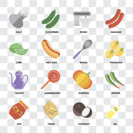 Set Of 16 icons such as Oil, Coconut, Toast, Jam, Pepper, Salt, Lime, Teapot, Whisk on transparent background, pixel perfect