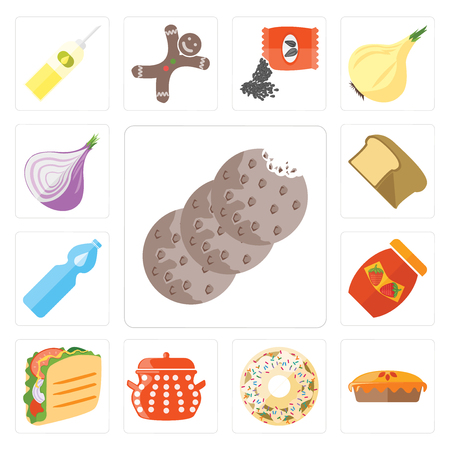 Set Of 13 simple editable icons such as Cookies, Pie, Doughnut, Pot, Taco, Jam, Water, Bread, Onion, web ui icon pack