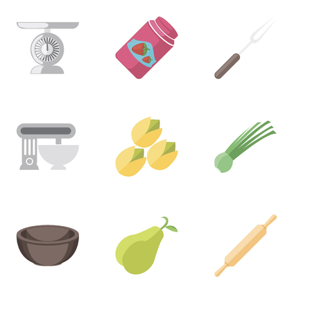 Set Of 9 simple editable icons such as Rolling pin, Pear, Bowl, Chives, Pistachio, Mixer, Fork, Jam, Scale, can be used for mobile, pixel perfect vector icon pack Illustration