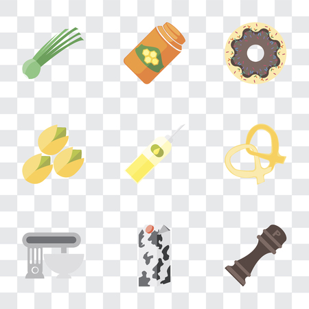 Set Of 9 simple transparency icons such as Pepper, Milk, Mixer, Pretzel, Oil, Pistachio, Doughnut, Honey, Chives, can be used for mobile, pixel perfect vector icon pack on transparent background Banco de Imagens - 111925962