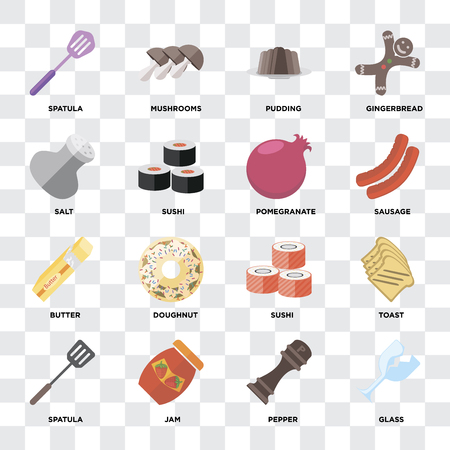 Set Of 16 icons such as Glass, Pepper, Jam, Spatula, Toast, Salt, Butter, Pomegranate on transparent background, pixel perfect Ilustração