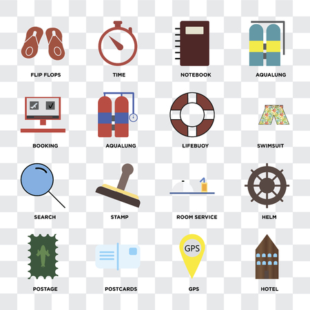 Set Of 16 icons such as Hotel, Gps, Postcards, Postage, Helm, Flip flops, Booking, Search, Lifebuoy on transparent background, pixel perfect