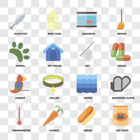 Set Of 16 icons such as Cat food, Brush, Carrot, Thermometer, Grooming glove, Injection, Animal, Parrot, Net on transparent background, pixel perfect