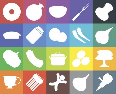 Set Of 20 icons such as Grinder, Onion, Gingerbread, Asparagus, Tea, Salt, Pancakes, Pot, Pumpkin, Pickles, Pepper, Doughnut, Bowl, web UI editable icon pack, pixel perfect