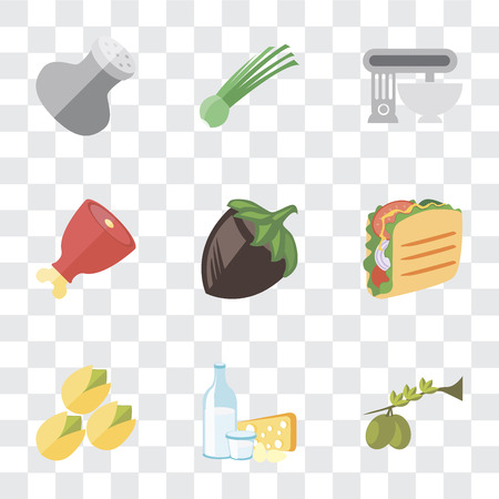 Set Of 9 simple transparency icons such as Olives, Dairy, Pistachio, Taco, Hazelnut, Ham, Mixer, Chives, Salt, can be used for mobile, pixel perfect vector icon pack on transparent background