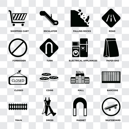 Set Of 16 icons such as Skateboard, Magnet, Dress, Train, Barcode, Shopping cart, Forbidden, Closed, Electrical appliances on transparent background, pixel perfect