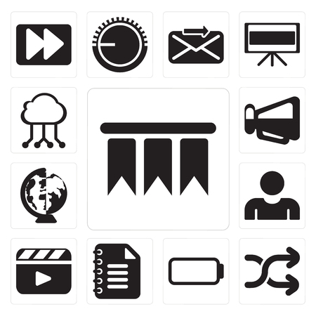 Set Of 13 simple editable icons such as Bookmark, Shuffle, Battery, Notepad, Video player, User, Worldwide, Megaphone, Cloud computing, web ui icon pack