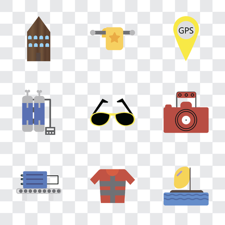 Set Of 9 simple transparency icons such as Parasailing, Lifejacket, Check out, Photography, Sunglasses, Oxygen tank, Gps, Towel, Hotel, can be used for mobile, pixel perfect vector icon pack on Illustration