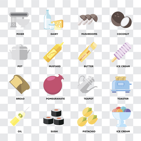 Set Of 16 icons such as Ice cream, Pistachio, Sushi, Oil, Toaster, Mixer, Pot, Bread, Butter on transparent background, pixel perfect Illustration