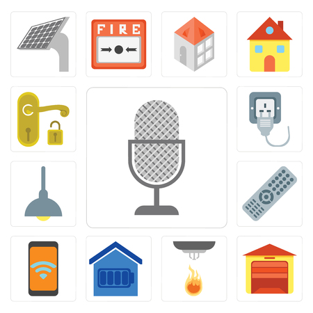 Set Of 13 simple editable icons such as Voice control, Garage, Sensor, Smart home, Mobile, Remote, Lighting, Plug, Handle, web ui icon pack Stock Vector - 111925976