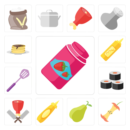 Set Of 13 simple editable icons such as Jam, Apple, Pear, Mustard, Butcher, Sushi, Spatula, Pancakes, web ui icon pack