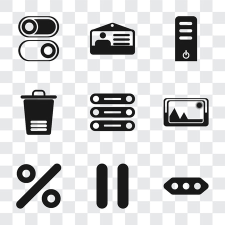 Set Of 9 simple transparency icons such as More, Pause, Percent, Picture, Database, Trash, Server, Id card, Switch, can be used for mobile, pixel perfect vector icon pack on transparent background