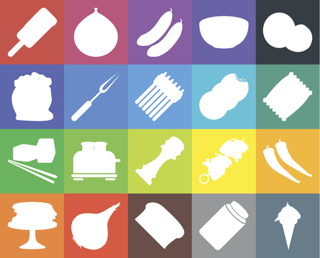 Set Of 20 icons such as Ice cream, Pickles, Bread, Onion, Pancakes, Coconut, Pepper, Sushi, Fork, Cookies, Chips, Cucumber, web UI editable icon pack, pixel perfect Vectores