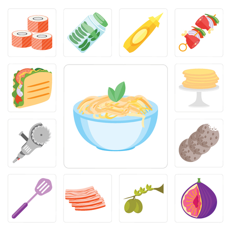 Set Of 13 simple editable icons such as Pasta, Fig, Olives, Bacon, Spatula, Cookies, Grinder, Pancakes, Taco, web ui icon pack Çizim