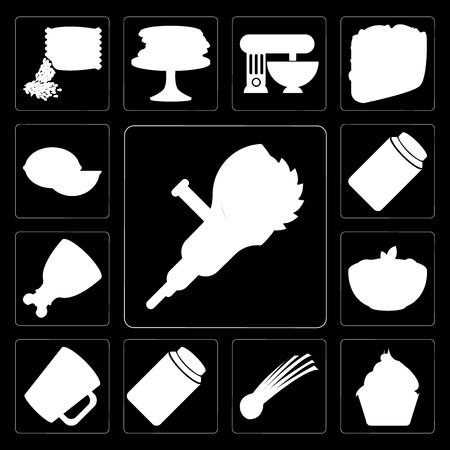 Set Of 13 simple editable icons such as Grinder, Cupcake, Chives, Pickles, Mug, Pasta, Ham, Jam, Lime on black background