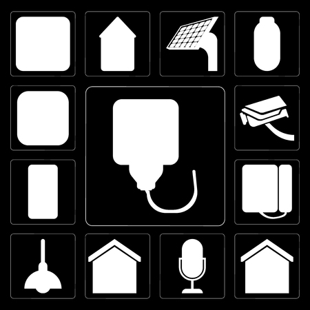 Set Of 13 simple editable icons such as Plug, Smart home, Voice control, Lighting, Dial, Mobile, Security camera, Meter on black background