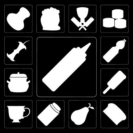 Set Of 13 simple editable icons such as Mustard, Bread, Pear, Honey, Tea, Ice cream, Pot, Water, Apple on black background Ilustração