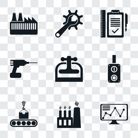 Set Of 9 simple transparency icons such as Stock, Factory, Conveyor, Switch, Machine press, Drill, Plan, Maintenance, can be used for mobile, pixel perfect vector icon pack on transparent Vetores