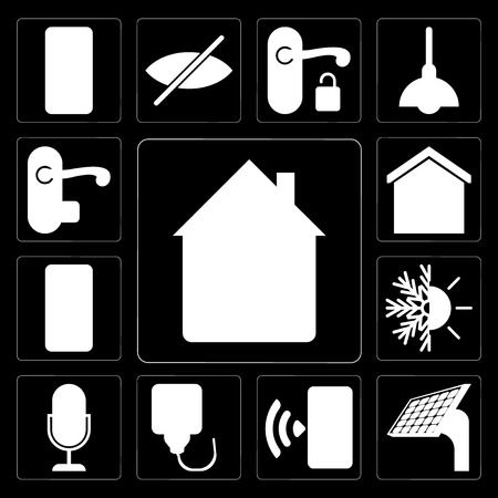 Set Of 13 simple editable icons such as Home, Panel, Smartphone, Plug, Voice control, Heating, Mobile phone, Smart home, Handle on black background Banque d'images - 111925996