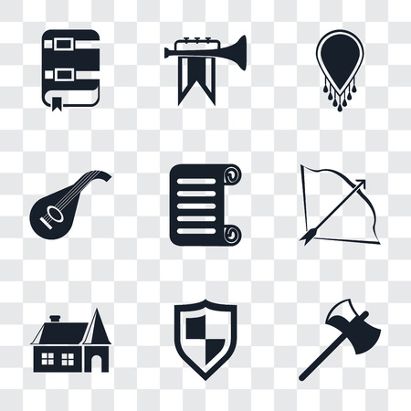 Set Of 9 simple transparency icons such as Axe, Shield, House, Bow and arrow, Scroll, Lute, Necklace, Fanfare, Book, can be used for mobile, pixel perfect vector icon pack on transparent background