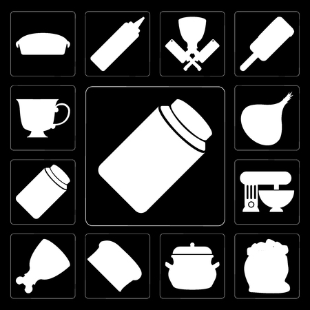 Set Of 13 simple editable icons such as Honey, Flour, Pot, Bread, Ham, Mixer, Jam, Onion, Tea on black background