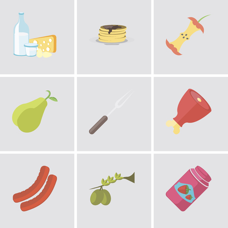 Set Of 9 simple editable icons such as Jam, Olives, Sausage, Ham, Fork, Pear, Apple, Pancakes, Dairy, can be used for mobile, pixel perfect vector icon pack Illustration