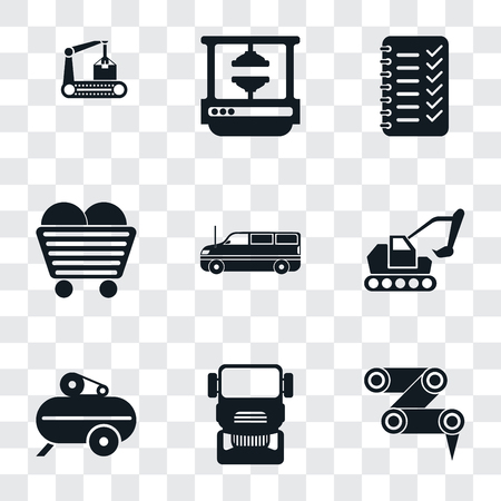 Set Of 9 simple transparency icons such as Robot arm, Truck, Compressor, Excavator, Cargo truck, Coal, Planning, Machine press, Conveyor, can be used for mobile, pixel perfect vector icon pack on