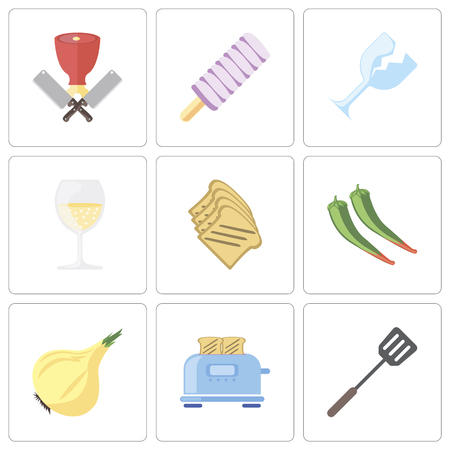 Set Of 9 simple editable icons such as Spatula, Toaster, Onion, Pepper, Toast, Glass, Ice cream, Butcher, can be used for mobile, pixel perfect vector icon pack
