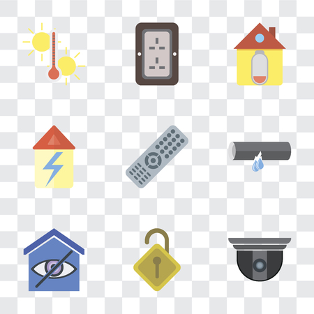 Set Of 9 simple transparency icons such as Security camera, Locked, Smart home, Leak, Remote, Home, Plug, Temperature, can be used for mobile, pixel perfect vector icon pack on transparent Ilustração