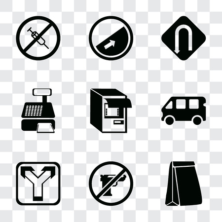 Set Of 9 simple transparency icons such as Paper bag, Gun, Junction, Bus, Atm, Cashier machine, Turn, Slope, No drugs, can be used for mobile, pixel perfect vector icon pack on transparent background