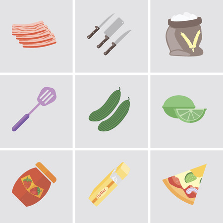 Set Of 9 simple editable icons such as Pizza, Butter, Jam, Lime, Cucumber, Spatula, Flour, Knives, Bacon, can be used for mobile, pixel perfect vector icon pack