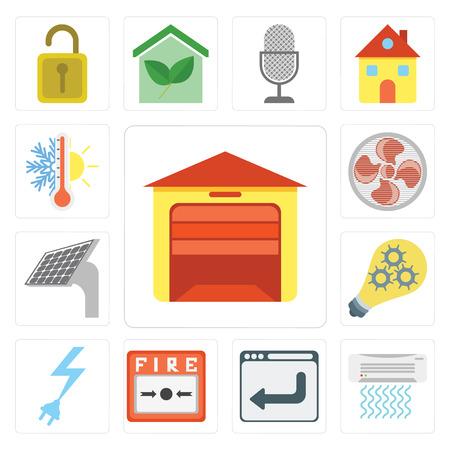 Conjunto de 13 iconos editables sencillos como garaje, aire acondicionado, navegador, alarma de incendio, energía, inteligente, panel, ventilador, termostato, paquete de iconos de interfaz de usuario web