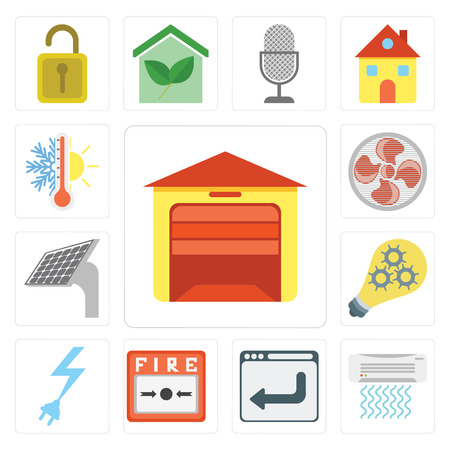 Set di 13 semplici icone modificabili come garage, condizionatore d'aria, browser, allarme antincendio, alimentazione, Smart, pannello, ventola, termostato, icon pack dell'interfaccia utente web