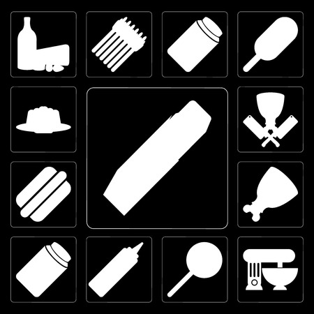 Set Of 13 simple editable icons such as Butter, Mixer, Jawbreaker, Mustard, Honey, Ham, Hot dog, Butcher, Jelly on black background
