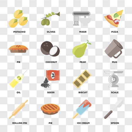 Set Of 16 icons such as Spoon, Ice cream, Pie, Rolling pin, Scale, Pistachio, Oil, Pear on transparent background, pixel perfect