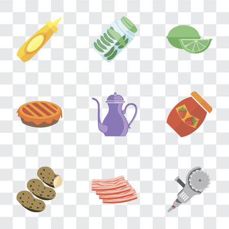 Set Of 9 simple transparency icons such as Grinder, Bacon, Potatoes, Jam, Teapot, Pie, Lime, Pickles, Mustard, can be used for mobile, pixel perfect vector icon pack on transparent background