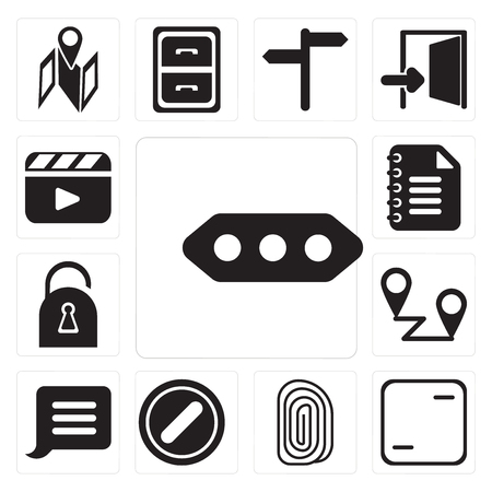 Set Of 13 simple editable icons such as More, Frame, Fingerprint, Forbidden, Notification, Placeholders, Locked, Notepad, Video player, web ui icon pack Illustration