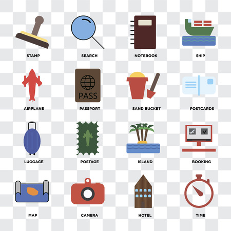 Set Of 16 icons such as Time, Hotel, Camera, Map, Booking, Stamp, Airplane, Luggage, Sand bucket on transparent background, pixel perfect