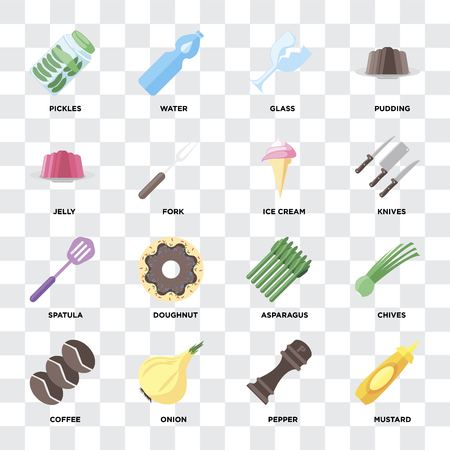 Set Of 16 icons such as Mustard, Pepper, Onion, Coffee, Chives, Pickles, Jelly, Spatula, Ice cream on transparent background, pixel perfect