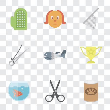 Set Of 9 simple transparency icons such as Pet food, Scissors, Fishbowl, Trophy, Fish, Nail trimmer, Net, Dog, Glove, can be used for mobile, pixel perfect vector icon pack on transparent background