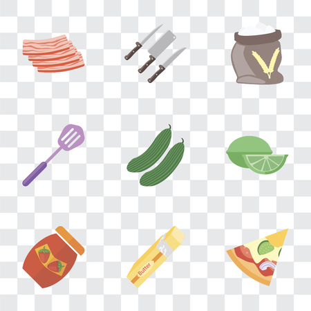 Set Of 9 simple transparency icons such as Pizza, Butter, Jam, Lime, Cucumber, Spatula, Flour, Knives, Bacon, can be used for mobile, pixel perfect vector icon pack on transparent background Ilustrace