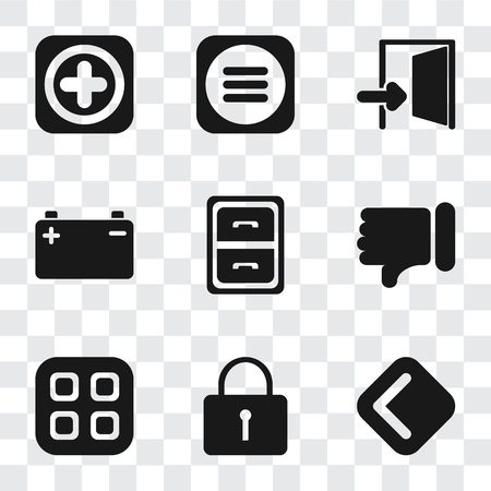Set Of 9 simple transparency icons such as Back, Locked, Menu, Dislike, Archive, Battery, Exit, Add, can be used for mobile, pixel perfect vector icon pack on transparent background