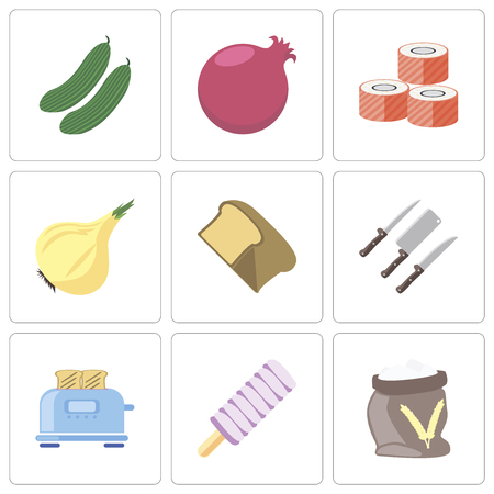 Set Of 9 simple editable icons such as Flour, Ice cream, Toaster, Knives, Bread, Onion, Sushi, Pomegranate, Cucumber, can be used for mobile, pixel perfect vector icon pack