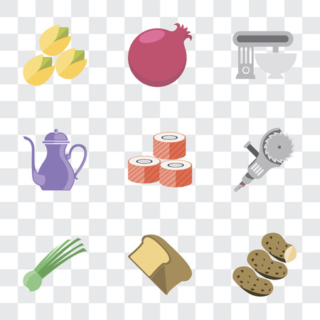 Set Of 9 simple transparency icons such as Potatoes, Bread, Chives, Grinder, Sushi, Teapot, Mixer, Pomegranate, Pistachio, can be used for mobile, pixel perfect vector icon pack on transparent