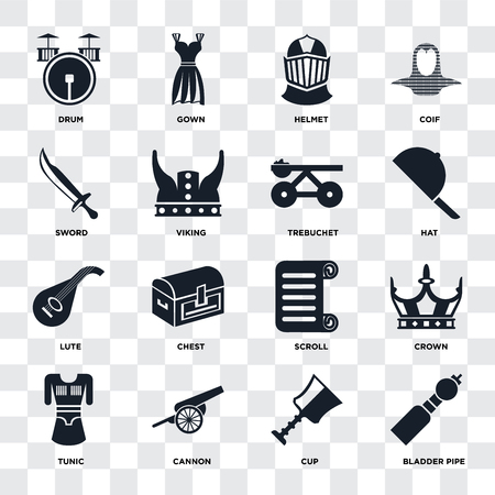 Set Of 16 icons such as Bladder pipe, Cup, Cannon, Tunic, Crown, Drum, Sword, Lute, Trebuchet on transparent background, pixel perfect