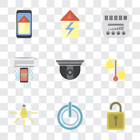 Set Of 9 simple transparency icons such as Unlock, Power, Light, Temperature, Security camera, Air conditioner, Meter, Home, Smart home, can be used for mobile, pixel perfect vector icon pack on